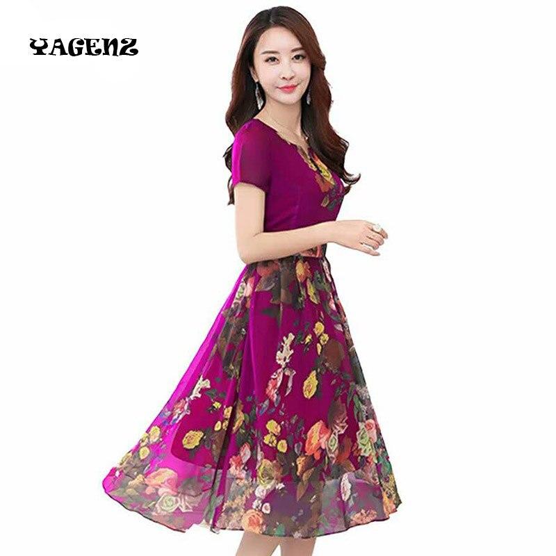 Женское шифоновое платье с принтом летнее средней длины в богемном стиле