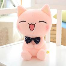 "1pcs 11"" 28cm Cat Plush Toy Pink Cat With Bow Tie Cute Cat Soft Stuffed Toy High Quality kids toy"