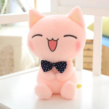 1pcs 11 28cm Cat Plush Toy Pink Cat With Bow Tie Cute Cat Soft Stuffed Toy High Quality kids toy <br><br>Aliexpress