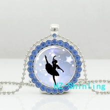 DC--00153 New Classic Ballerina Crystal Necklace Ballet Dancer Pendant Glass Picture Jewelry Silver Pendants Necklaces Chain(China)