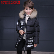 Natural fur Boys winter down coat children clothing warm Jackets Coats Kids thick cotton down jacket factory outlet Brand
