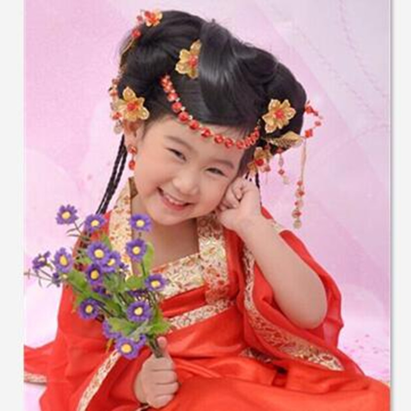 Chinese Ancient Classic Style Chiffon Gold Edge Children Tang Suit Girl Floral Embroidered Fairy Dress Kids Photography Costume<br><br>Aliexpress