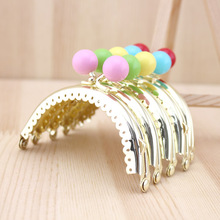 C58 small bead gold semicircle Kiss Clasp 8.5CM Cute multicolor Metal purse frame 6pcs/lot DIY Coin Purse Bag accessories(China)