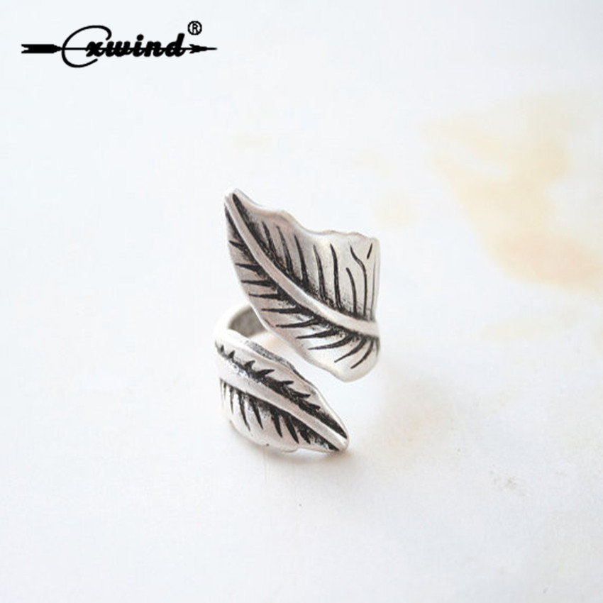 Cxwind Retro Adjustable Wide leaf Ring Boho Bague Antique Silver leaf Ring Leaves Rings for Women Fashionable Knuckle Jewelry
