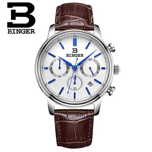 Fashion simple stylish Top Luxury brand Binger Watches men Cow Leather strap band Quartz-watch thin Dial Clock man Wristwatch<br>