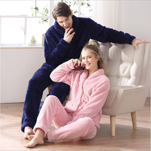 2017 Winter Brand Homewear Couples Pajama sets Men Thicken Warm Flannel Velvet Sleepwear suit Male Turn-down Collar Coat + pants(China)
