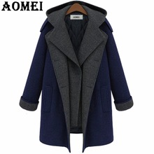 Women Casual Fashion Wool Coats Navy Blue Wear to Work Office Lady Outwear Clothing Tweed 2017 New Fall Autumn Overcoat Cape(China)
