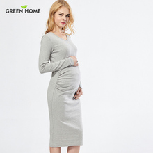 Green Home High Quality Long Maternity Dress Plus Size Pregnant Dress Winter Maternity Nursing Dress Fitness design(China)
