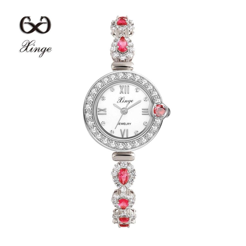 Xinge Brand Luxury Zircon Copper Bracelet Shell 30M Waterproof Wristwatch Women Dress Rhinestone Quartz Ladies Casual Watches<br>