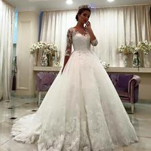 2017 Three Quarter Sleeves A-Line Lace Bridal Gowns with Appliques Sheer Neck Princess Wedding Dress Plus Size Vestido De Noiva