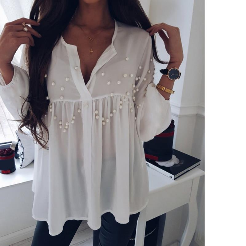 Elegant Pearls Beading Shirts Long Sleeve V Ncek White Chiffon Shirt Pleated Chic Blouse Office Lady Casual Tops Blusas WS6098O 1