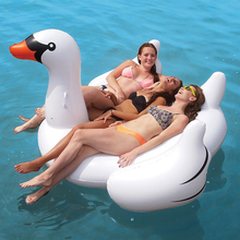 Free Ship 2016 New 150cm Giant Swan Pool Float Inflatable Swimming Board White Ride-on Adults Child Island Beach Water Fun Toys