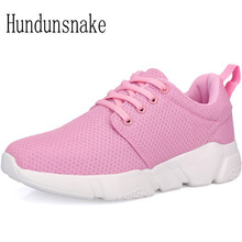 Hundunsnake Women's Sports Shoes Pink Air Mesh Lightweight Breathable Sneakers Women 2017 Running Shoes Krasovki Gumshoes T295