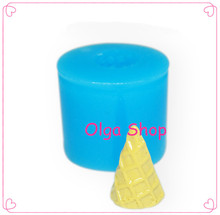 XYL062 3D Ice Cream Cone Silicone Mold Fondant Cake Decorating Polymer Clay Resin Gum Paste Sugarcraft