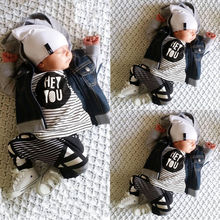 Newborn Baby Boys Outfits Kids Clothes T-shirt Tops+Pants Set 0-24M 2PCS Striped baby boy clothes