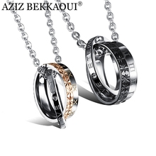 AZIZ BEKKAOUI Couple Necklace 316L Stainless Steel ETERNAL LOVE Lettering Name Logo Double Circle Pendant Necklaces For Lovers(China)