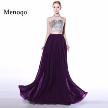 Menoqo Sexy A-Line Purple two piece evening dress 2017 Long Halter Beaded Backless vestidos de fiesta Formal Party Pageant Dress(China)
