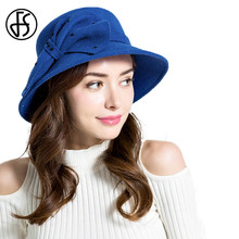 2017 Autumn Winter Large Wide Brim Wool Felt Hat For Womens Fedora Black Blue Red Khaki Lady Vintage Cloche Hat With Bowknot(China)