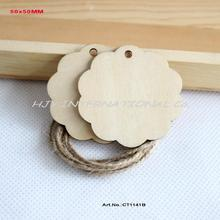 "(60pcs/lot) 50mm Blank Natural Wood Card Jewelry Lable Wooden Gift Tags Good Quality 2""-CT1141B"