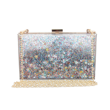Fashion New Box Sequins Acrylic Clutch Chain Clutches Women Shoulder Bags Hard Evening Bags Wedding Party Prom Purse 6 Colors