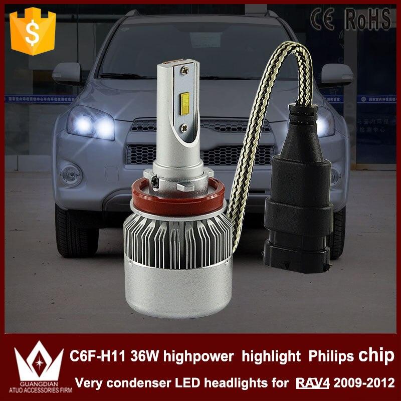Guang Dian car led light Headlight Head lamp DIPPED BEAM LOW Beam condenser C6F 6000K white 36W H8/ H9 / H11 FOR RAV4 2009~2012<br><br>Aliexpress