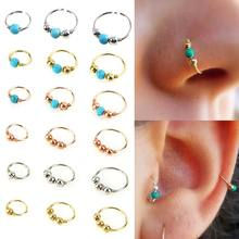 100pcs/ lot New Hoop Nose Ring Blue Stone Nose Piercing Hip Hop Body Piercing Jewelry For Women Cute Gift Wholesale(China)