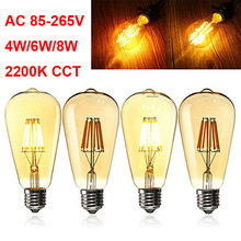 ST64 Antique E27 LED Edison Filament Bulb 4W 6W 8W Golden Glass 2200K Extra Warm 110V 220V Retro Style 40W Edison bulb Replace