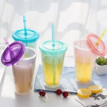 High Quanlity Smoothie Iced  Juice Plastic Drinks Mug With Straw ,Fashion Plastic Mug,Can Customized Color