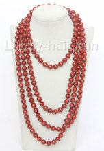 "JQHS natural 90"" 10mm round red sponge coral beads necklace j10508"