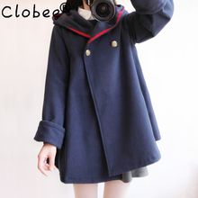 2017 winter new vintage wool cloak preppy style sailor navy blue blends coat outerwear women plus size solid color autumn cape