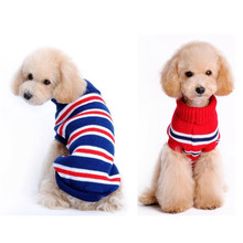 Classic Stripe Pet cat dog Sweater clothes round Neck warm winter puppy kitty Coat clothing Unisex Knitwear Knitting costume