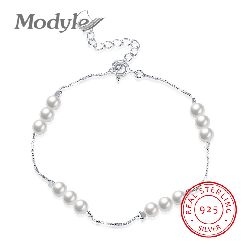 Modyle New Hot 100% Real Pure 925 Sterling Silver Jewelry Simulated Pearl Bracelets Fashion Jewelry Women Lover Gifts
