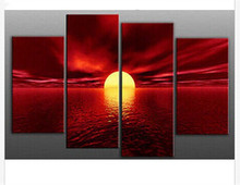 Hand Painted Canvas Oil Paintings Huge 4 Panel Wall Art Modern Seascape Acrylic Red Painting Sunset Landscape Picture Home Decor