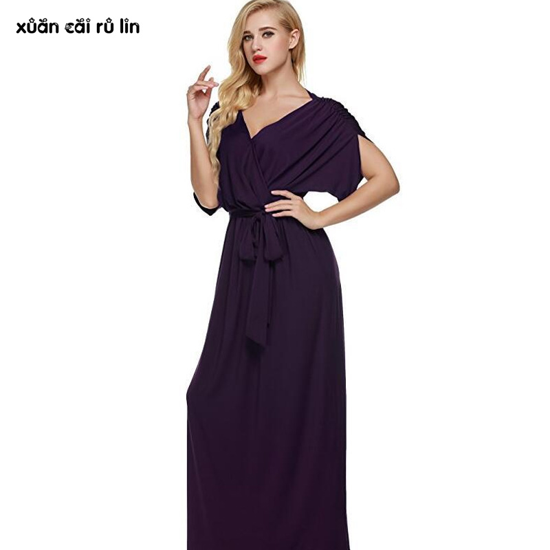 2017 Burgundy Maxi Dress Women clothing plus size 4xl SUMMER Autumn Party Dress sexy Long Elegant tunic Dresses vestido de festa