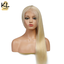 KL Hair Full Lace Human Hair Wigs #613 Color Straight Brazilian Remy Hair Blonde Lace Wigs Natural Hairline With Baby Hair 12-20(China)