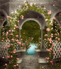Beautiful pink flowers classical door wedding Backgrounds for Photo Studio Vinyl Wedding Photography Backdrops 5X7ft