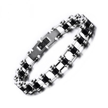 LISNOIR 2017 Punk Cool Biker Bicycle Motorcycle Chain Bracelet Men Jewelry 316L Stainless Steel Bracelets Bangles Men Gift