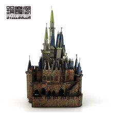 Colorful Cinderella Castle Mini Fun 3D Metal Model Kits Puzzle JigsawToys Adults Kid Educational Splicing Hobby Building Jigsaw(China)