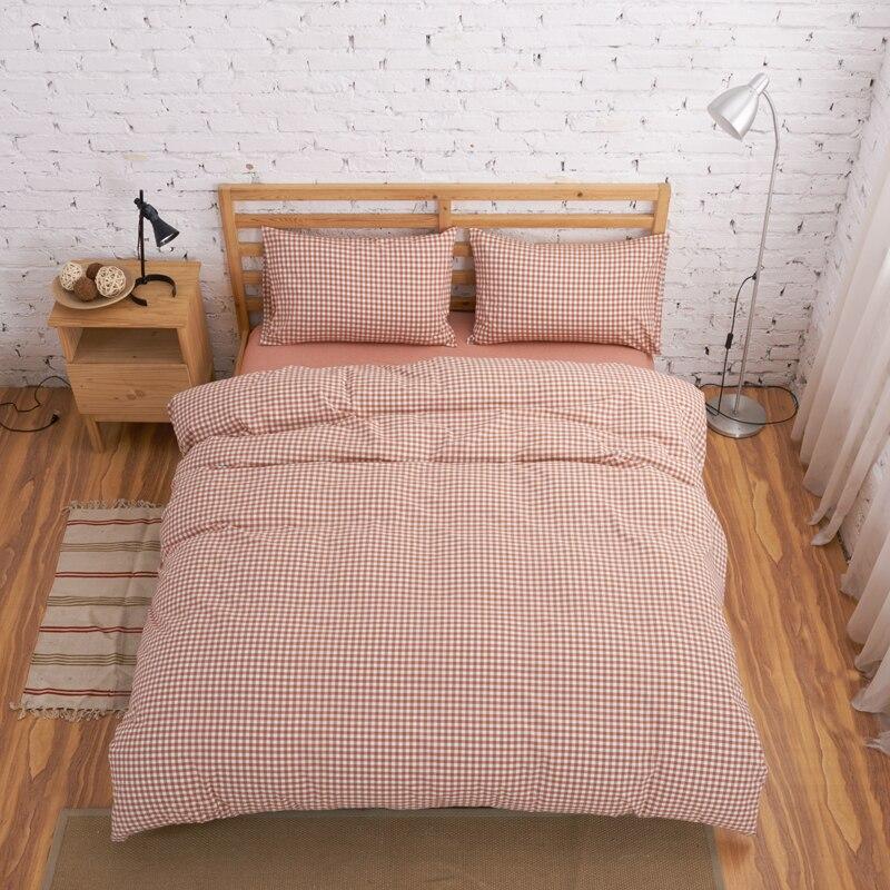 100%コットングリーンベージュチェック柄糸染め日本無印良品スタイルシートセット寝具