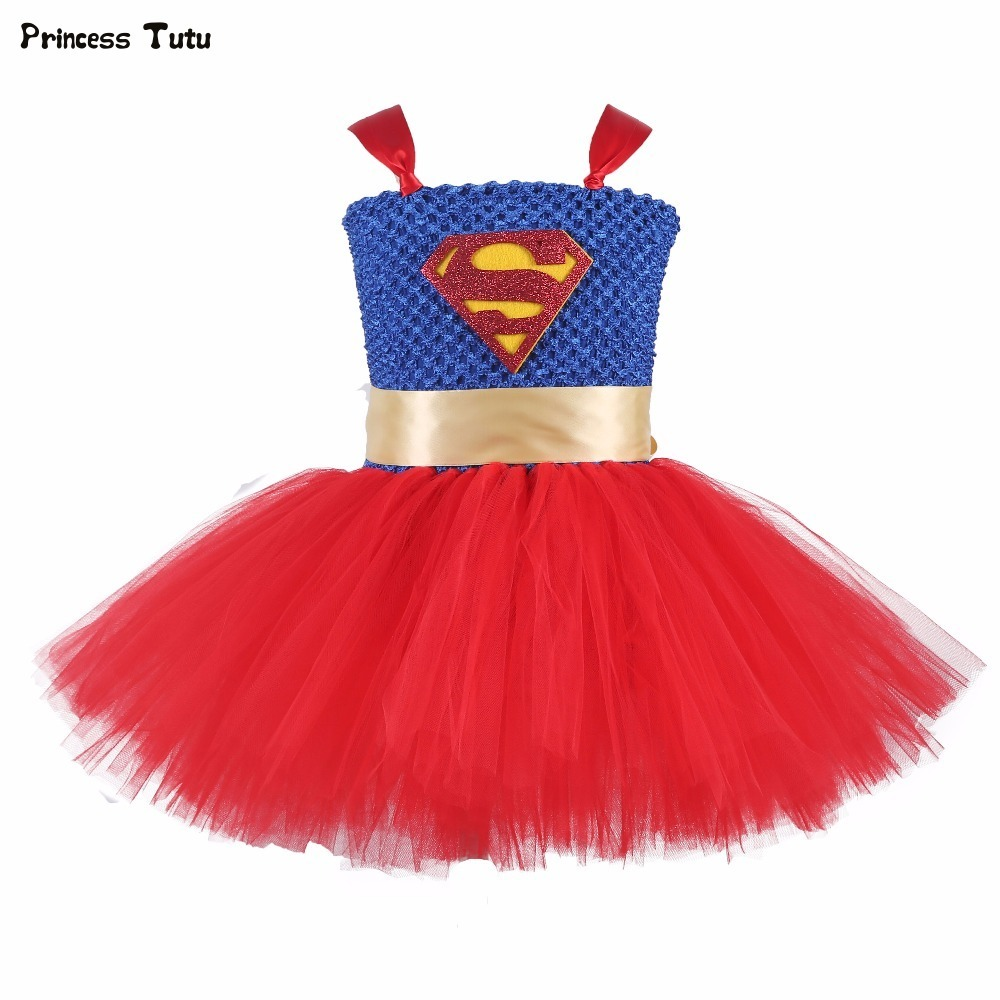 Baby Girl Super Hero Tutu Dress Children Girl Birthday Party Christmas Halloween Costume Kids Cosplay Batman Superman Dress 1-14