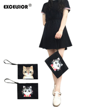 EXCELSIOR hand bags designers brand Cute Cartoon Printed Women cat bag High Capacity Party Women Day Clutch Ladies Hand Bags sac