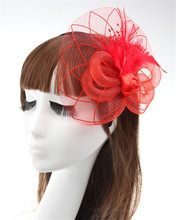 Free Shipping Hot Sale White Black Red Birdcage Net Wedding Bridal Fascinator Face Veils Feather Flower with Hairpins