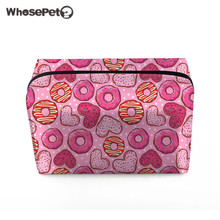 WHOSEPET Girl Doughnuts Print Cosmetic Bag Fashion Casual Makeup Bag Travel Toiletry Wash Organizer Case Ladies Storage Case Bag