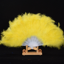 1 x High Quality Feather Fan For Dance Props Hand Goose Feather Folding Fan Wedding Wonderful Colorful Feather P10(China)