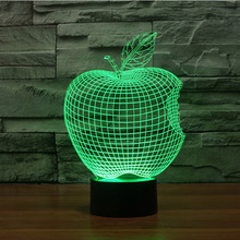 Apple 3D Illusion Optical Bedroom Night LED Desk Table Light Lamp Abstract Visual 7 Kinds of Colors Change Touch Key USB Powered