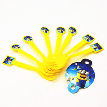 HOT 10pcs/bag Minions Forks Cartoon Theme Party For Kids Happy Birthday Decoration Theme Party Supplies Minions party