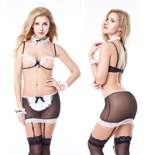 Buy Leechee YQ138 Women sexy lingerie cosplay maid uniform open bra+skirt+collar plus size lenceria porn costumes erotic underwear