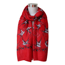 new arrival Lady Womens Long Cute Swallow Bird Print Scarf Wraps Shawl Soft Scarves wholesale price