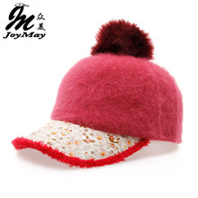 Free shipping fashion winter hat candy solid color rabbit fur baseball cap Flower pattern Women's Autumn and Winter cap W006