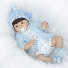 "22"" fake baby doll silicone for girl boy dolls gift reborn babies dolls can enter water dolls bebe real reborn bonecas"